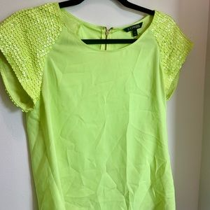Neon lime green sequin short sleeve express top